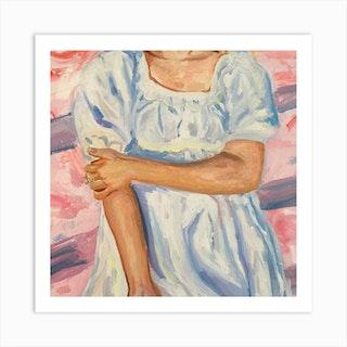 White Dress Square Art Print