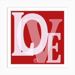 Love Red Heart Square Art Print