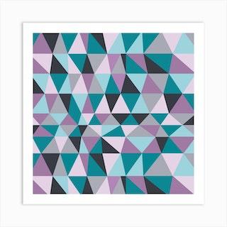 Irregular Triangles Purple Square Art Print