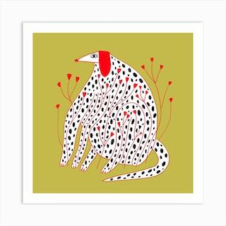 Dog Spot Flowers2 Square Art Print