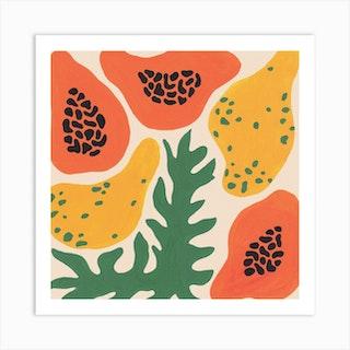 Papayas Square Art Print
