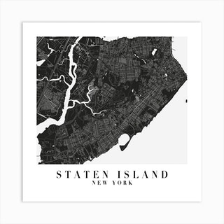 Staten Island New York Minimal Black Mono Street Map  Square Art Print