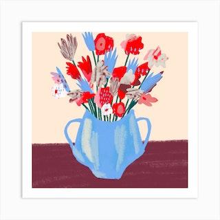 Flower Vase Square Art Print