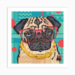 Percy Pug Square Art Print