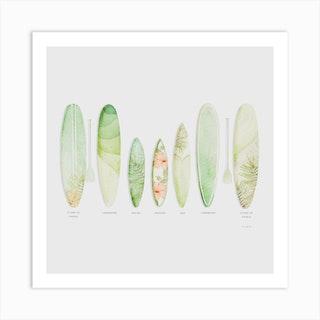 Tropical Surf Square Art Print