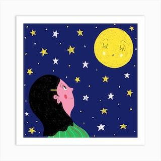 Moon Girl Square Art Print