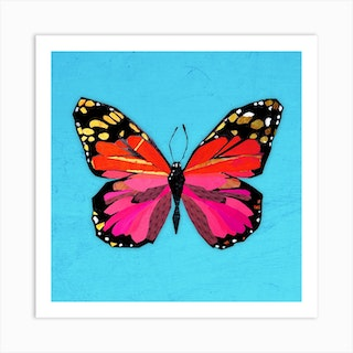 Butterfly In Red And Pink Art Print