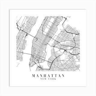 Manhattan New York Street Map Minimal Square Art Print