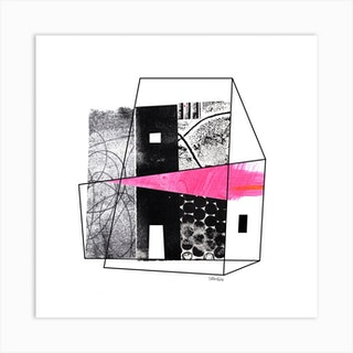 Abstract Collage Pink House Square Art Print