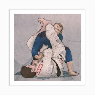 Brazilian Jiu Jitsu   Arm Bar Square Art Print
