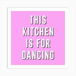Pink Dancing Square Art Print