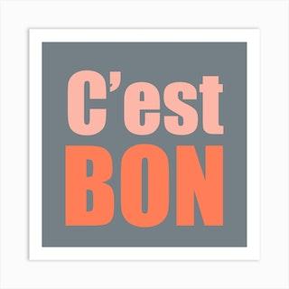 Cest Bon Grey And Pink Square Art Print