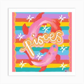 Pisces Starsign Square Art Print