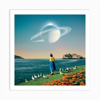 Staring At A Planet Square Art Print