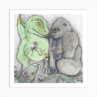 King Kong And Friends Square Art Print
