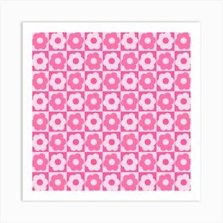 Floral Checker Pink Square Art Print