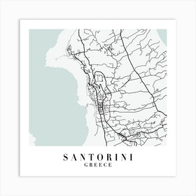 Santorini Greece Street Map Minimal Color Square Art Print