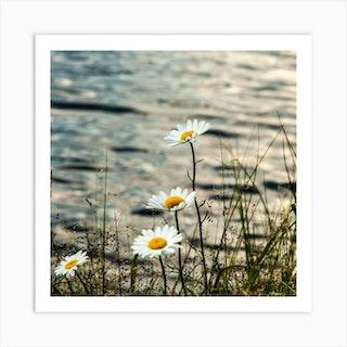Lake Flowers Square Art Print