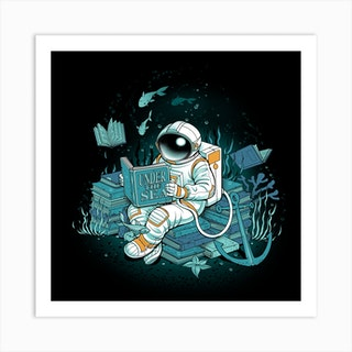 A Reader Lives A Thousand Lives Cosmonaut Under The Sea Square Art Print