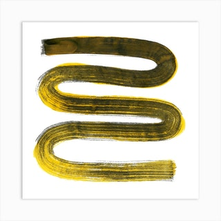 Zig Zag Yellow Square Art Print