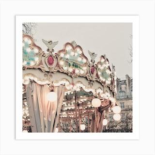 Paris Carousel Square Art Print