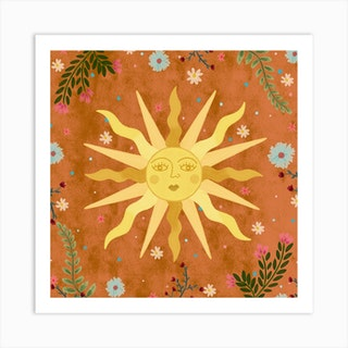 Vintage Sun Square Art Print