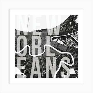 New Orleans Mono Street Map Text Overlay Square Art Print