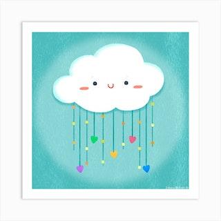 Cloud Love Square Art Print