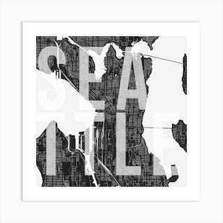 Seattle Mono Street Map Text Overlay Square Art Print