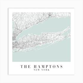 The Hamptons New York Street Map Minimal Color Square Art Print
