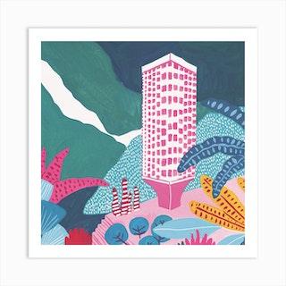 Seattle Modenrist Tower Square Art Print