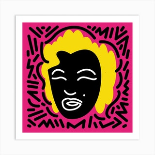 Black Marilyn Pink By Hen Macabi Art Print