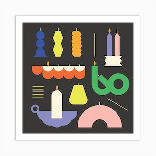 Candle Collection Square Art Print