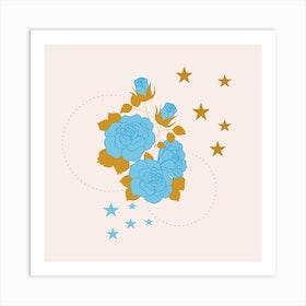 Blue Rose And Geometrics Square Art Print
