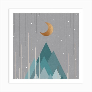 Moon And Mountains Mint Green Square Art Print
