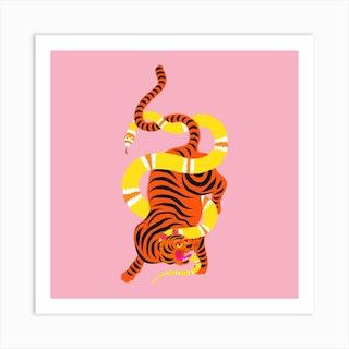 Tiger And Snake Battle Square Art Print