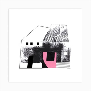 House Abstract Collage Pink Square Art Print