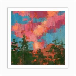Cotton Candy Clouds Square Art Print