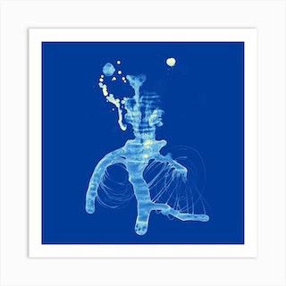 Retinolman Or Edward Scissorhands Blue Square Art Print