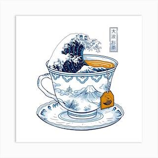 The Great Kanagawa Tea Art Print