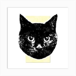 Soft Yellow Cat Square Art Print