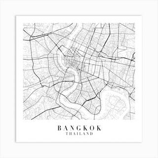 Bangkok Thailand Street Map Minimal Square Art Print