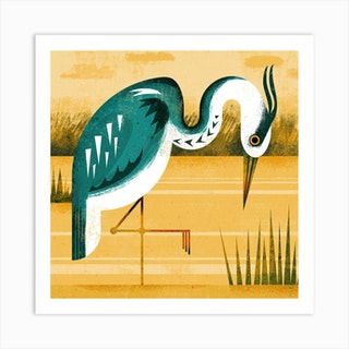 Heron Square Art Print