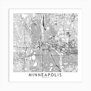 Minneapolis White Map Square Art Print