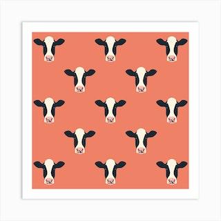 Dairy Cows (Amber)Square  Art Print