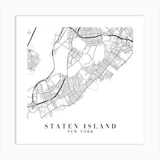 Staten Island New York Street Map Minimal Square Art Print