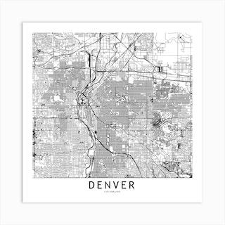 Denver White Map Square Art Print