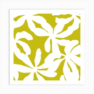 Golden Shadows In Green Square Art Print