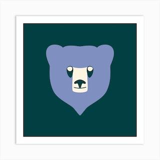 Bear Cub Blue Art Print