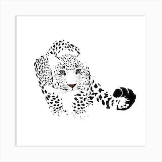 Snow Leopard White Series Square Art Print